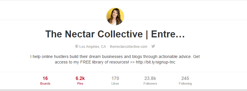 Call To Action Pinterest Profile