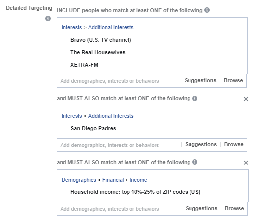 facebook ad targeting for specific tv radio shows