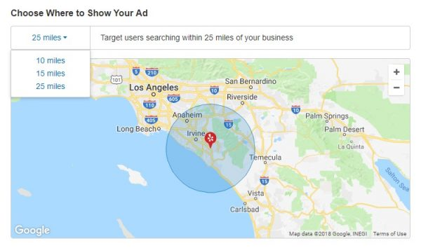 yelp advertising geo targeting radius options